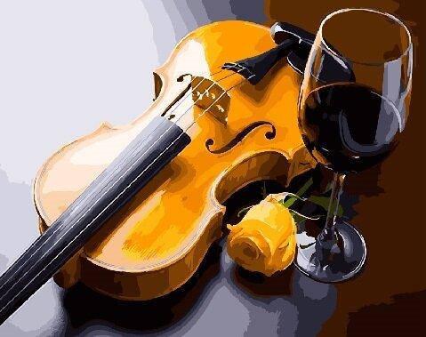 BK-GX27891 Картина для рисования по номерам Бокал и скрипка, Без коробки, фото 2