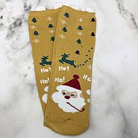 Шкарпетки Високі Новорічні з вушками Жіночі Чоловічі Затишок Новий Рік Дід Мороз Олень Ялинки Гірчичний 37-41