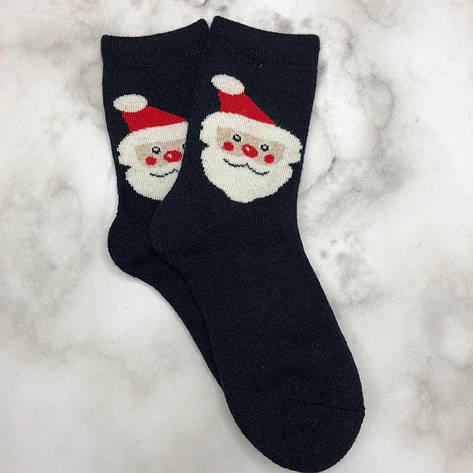 Шкарпетки Високі Новорічні Жіночі Чоловічі Наталі Новий Рік Дід Мороз Темно-Сині 37-41, фото 2