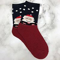 Шкарпетки Високі Новорічні Жіночі Чоловічі Наталі Новий Рік Дід Мороз і Сніжинки Темно-Сині 37-41