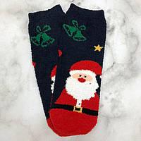Шкарпетки Високі Новорічні Жіночі Чоловічі Наталі Махрові Новий Рік Дід Мороз Темно-сині 37-41