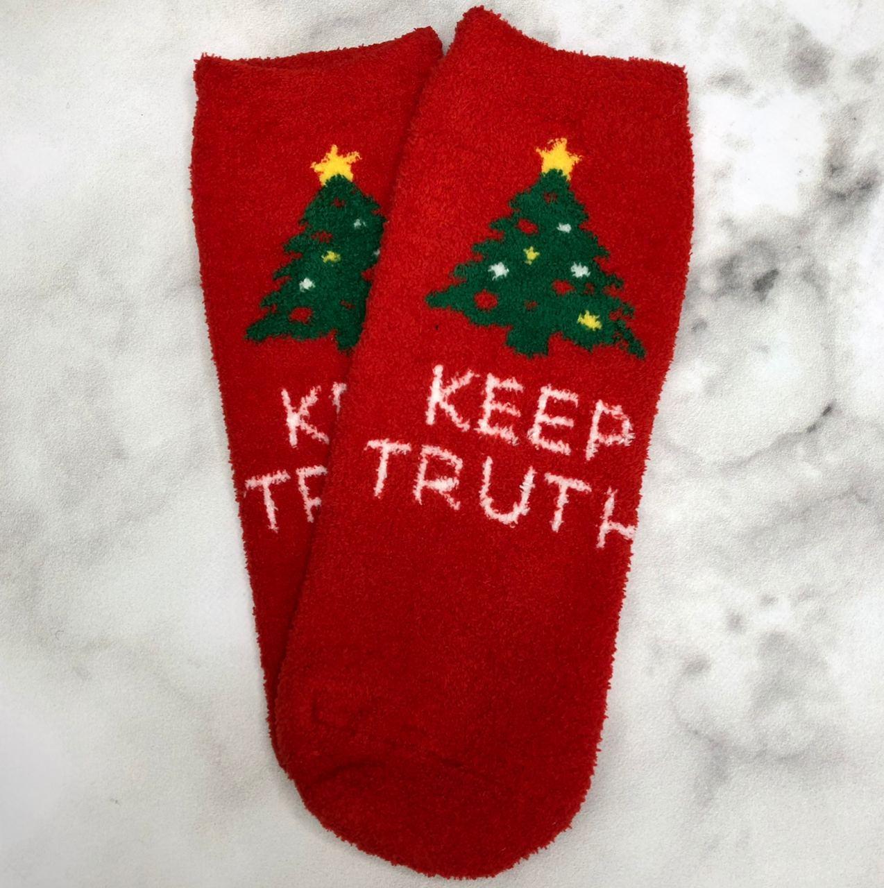 Носки Высокие Новогодние Женские Мужские Натали Махровые Новый Год Ёлка Keep Truth Красные 37-41