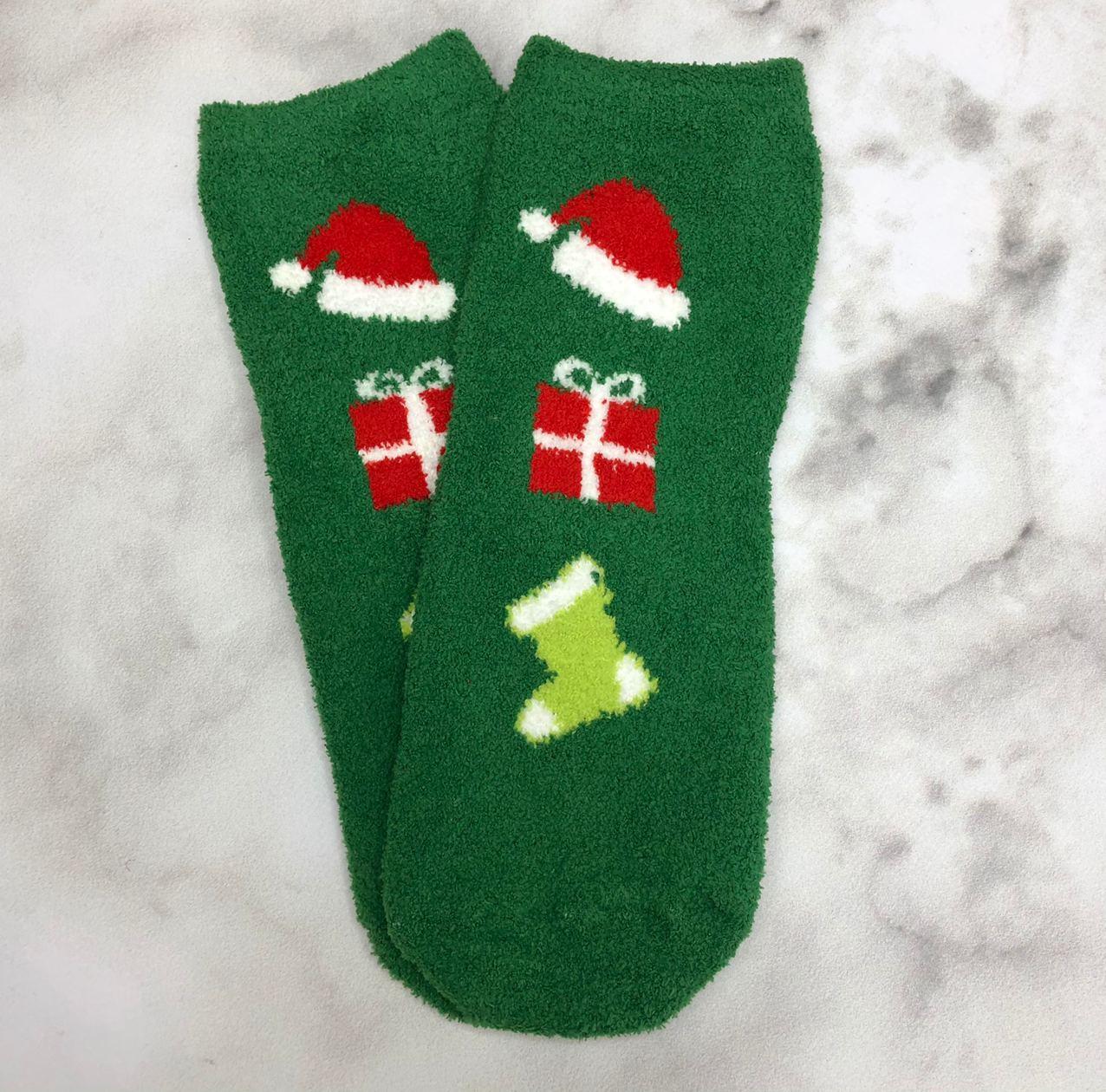 Шкарпетки Високі Новорічні Жіночі Чоловічі Наталі Махрові Новий Рік Шапка Подарунок Чобіт Зелені 37-41