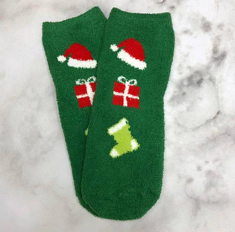 Шкарпетки Високі Новорічні Жіночі Чоловічі Наталі Махрові Новий Рік Шапка Подарунок Чобіт Зелені 37-41, фото 2