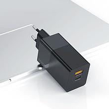 Зарядное KUULAA GaN QC4.0 Type-C+USB 65W EU black