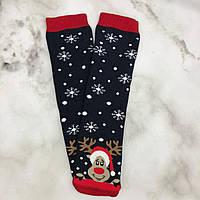 Шкарпетки Високі Новорічні Жіночі Чоловічі Kardesler Новий Рік Олень Сніжинки Темно-Сині 36-40