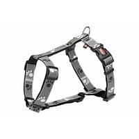 Шлея Trixie L-XL для собак, светоотражающая, 75-100 см х 25 мм, нейлон, серый