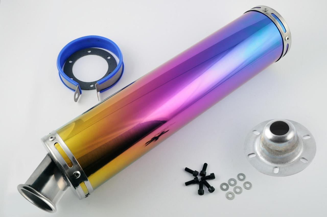 Глушитель (Выхлопная труба) (тюнинг) 420*100мм, креп. Ø78мм (нержавейка, радуга, прямоток, mod:15)