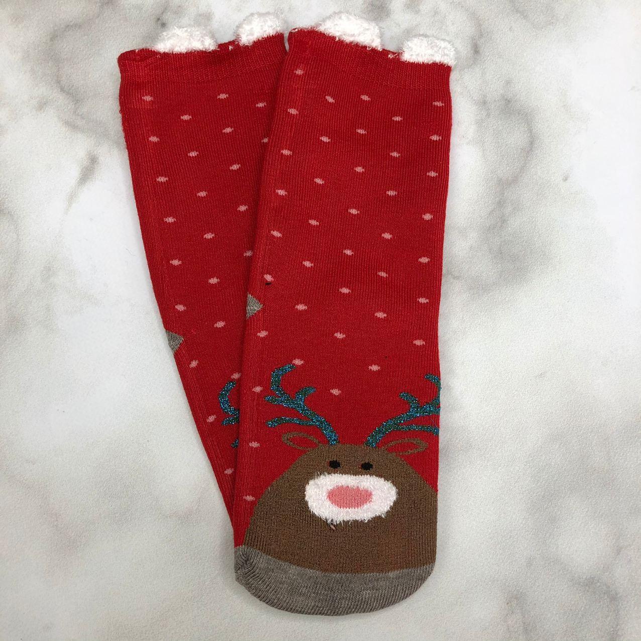 Носки Высокие Новогодние с ушками Женские Мужские Уют Новый Год Олень и Снежинки Красные 37-41