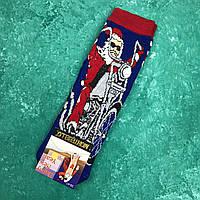 Шкарпетки Високі Новорічні Жіночі Чоловічі Montebello Новий Рік Дід Мороз Байкер Сині 39-41