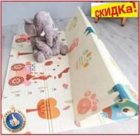 Детский складной двусторонний термо коврик 1.8х1.5 м мягкий игровой термо коврик для ползания ростомер