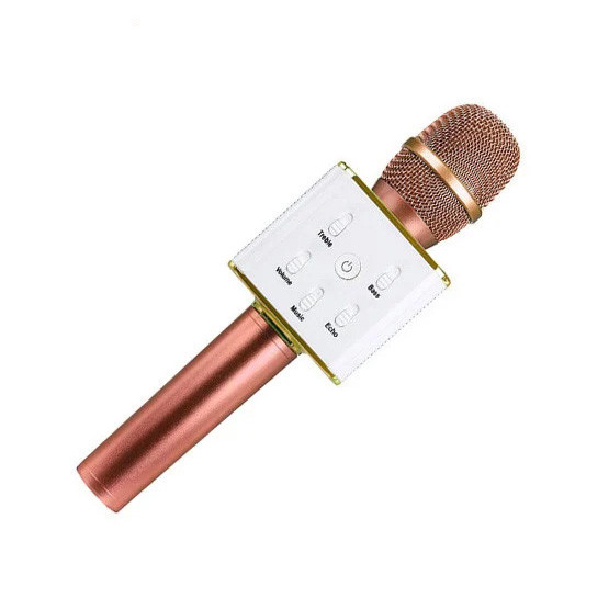 Мікрофон-колонка караоке безпровідна Q7 золотисто-рожевий