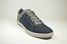 Мужские летние туфли нубуковые синие Maxus Энзо