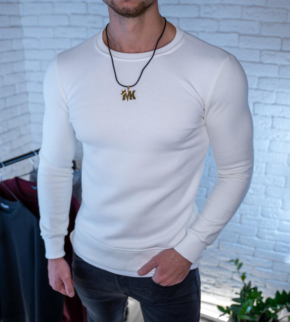 Мужская толстовка Свитшот белая/ Турция Белый, M