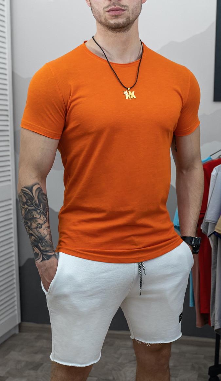 Мужская футболка приталенная белая/ есть 15 цветов Оранжевый