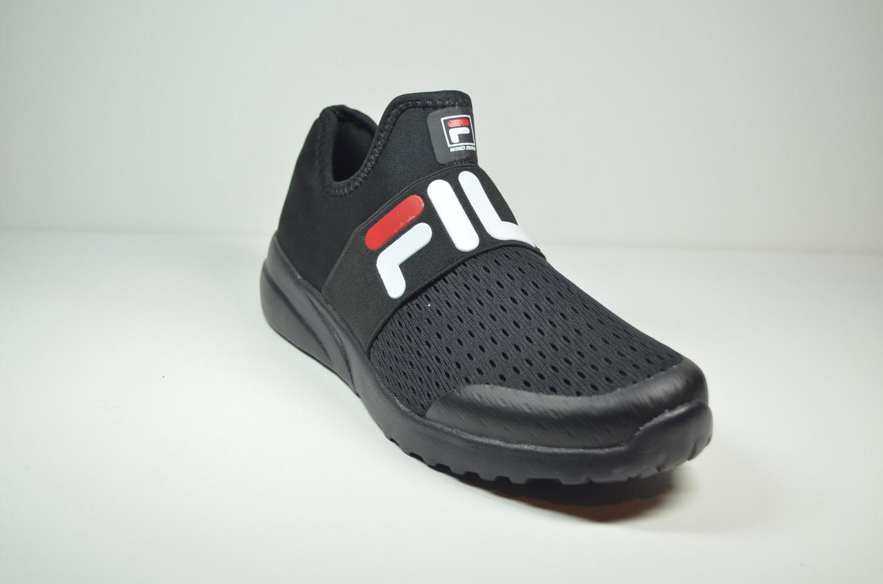 Чоловічі кросівки сітка літні чорні в стилі Fila (1015-5)