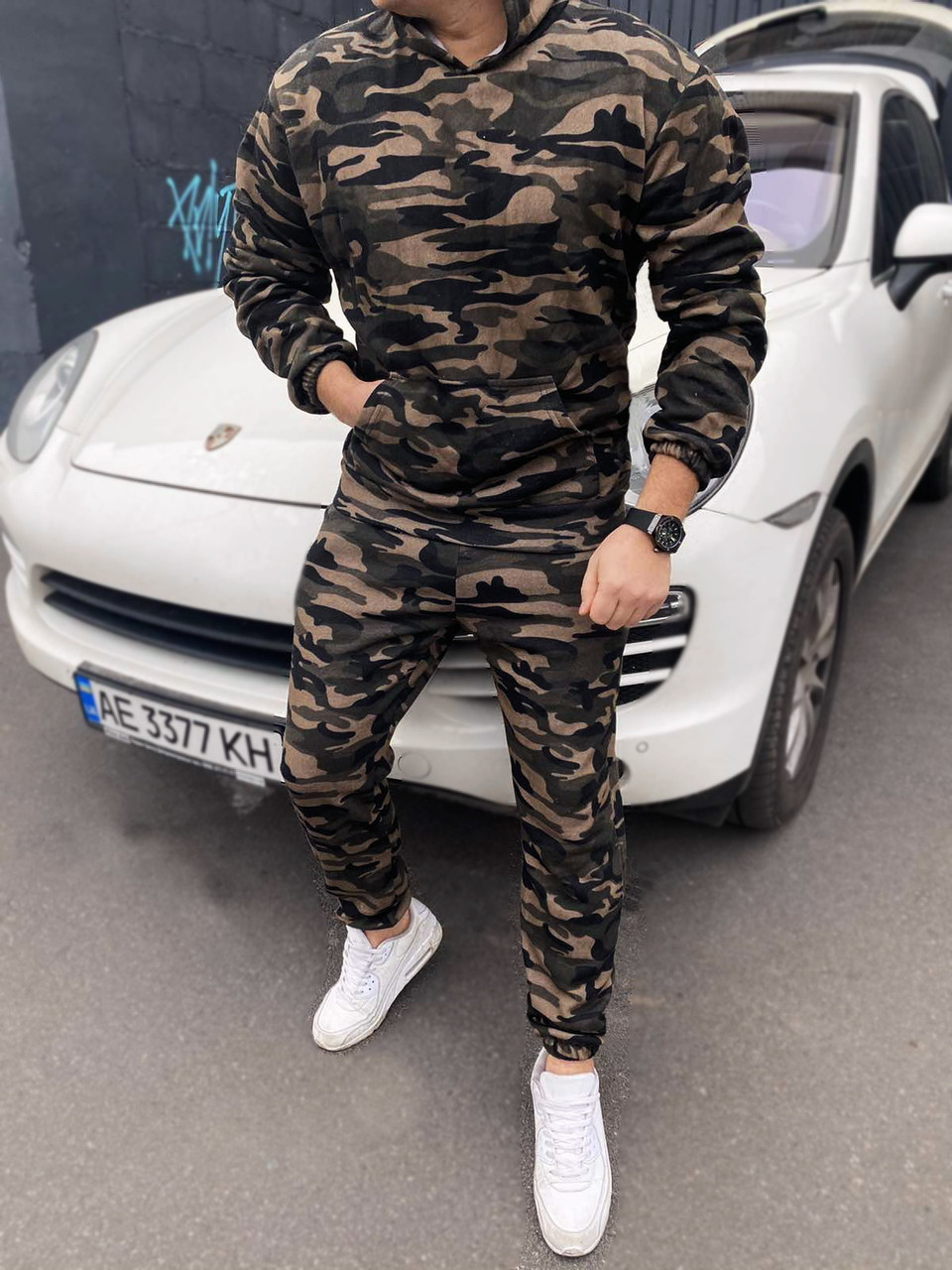 Спортивный костюм мужской камуфляж оверсайз зимний тёплый брендовый трехнитка с начесом копия реплика