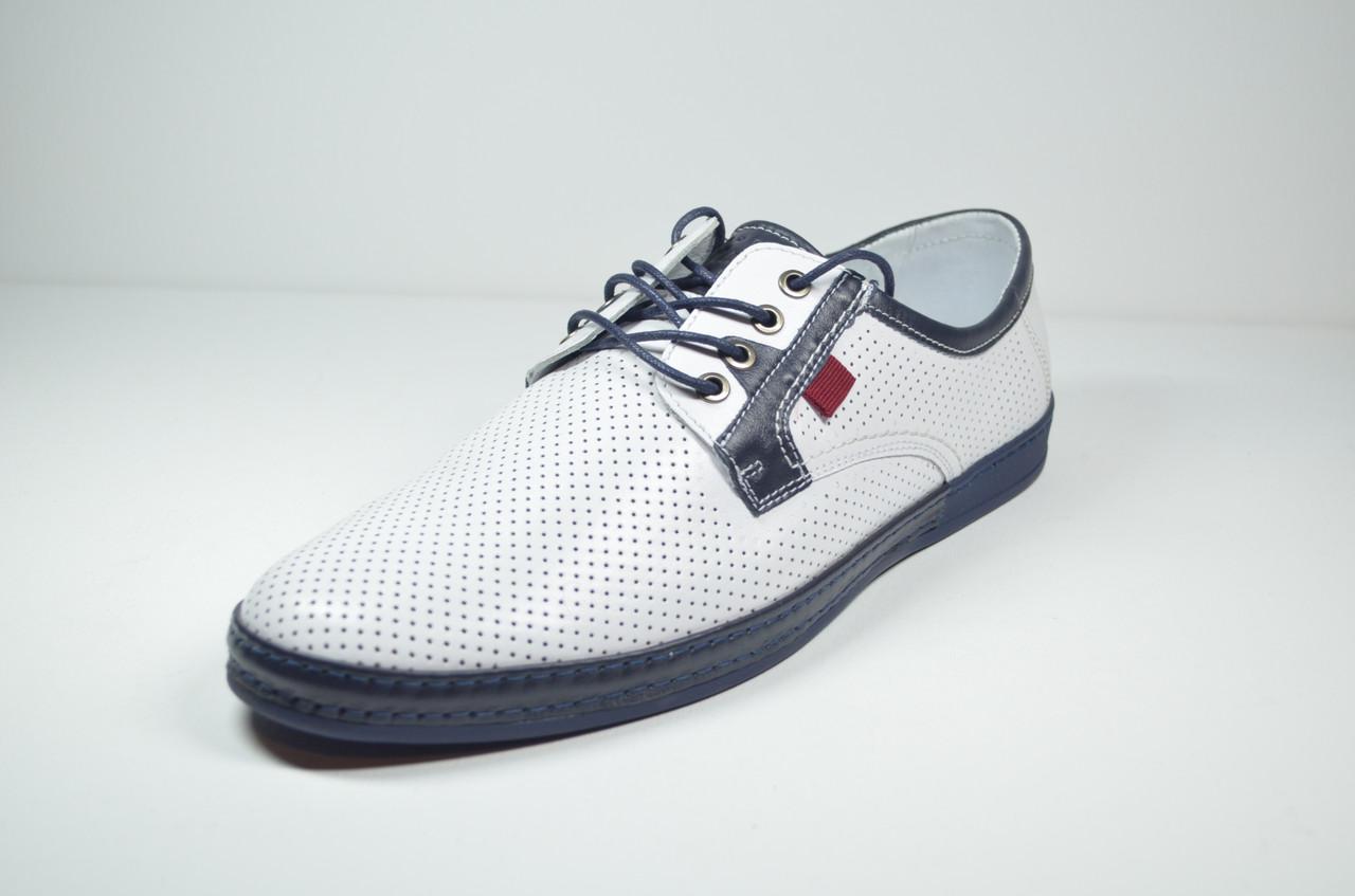 Чоловічі шкіряні туфлі білі KaDar 2798997