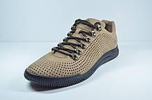 Мужские летние комфортные туфли нубуковые рыжие Samas 705 П-3