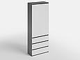 Шкаф для одежды с 3 ящиками Антрацит/Белый, фото 2