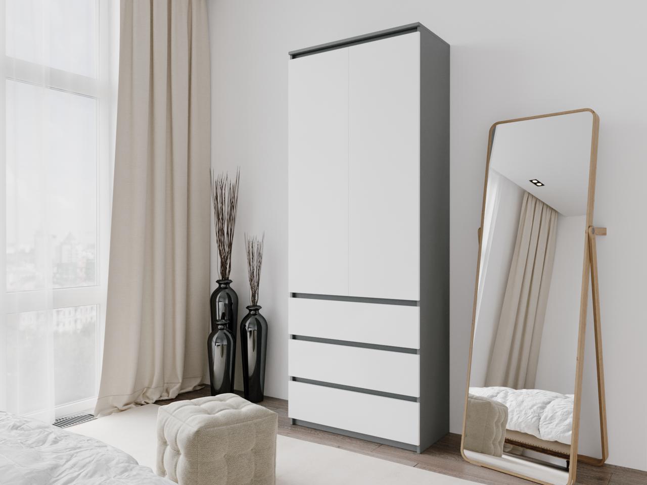 Шкаф для одежды с 3 ящиками Антрацит/Белый