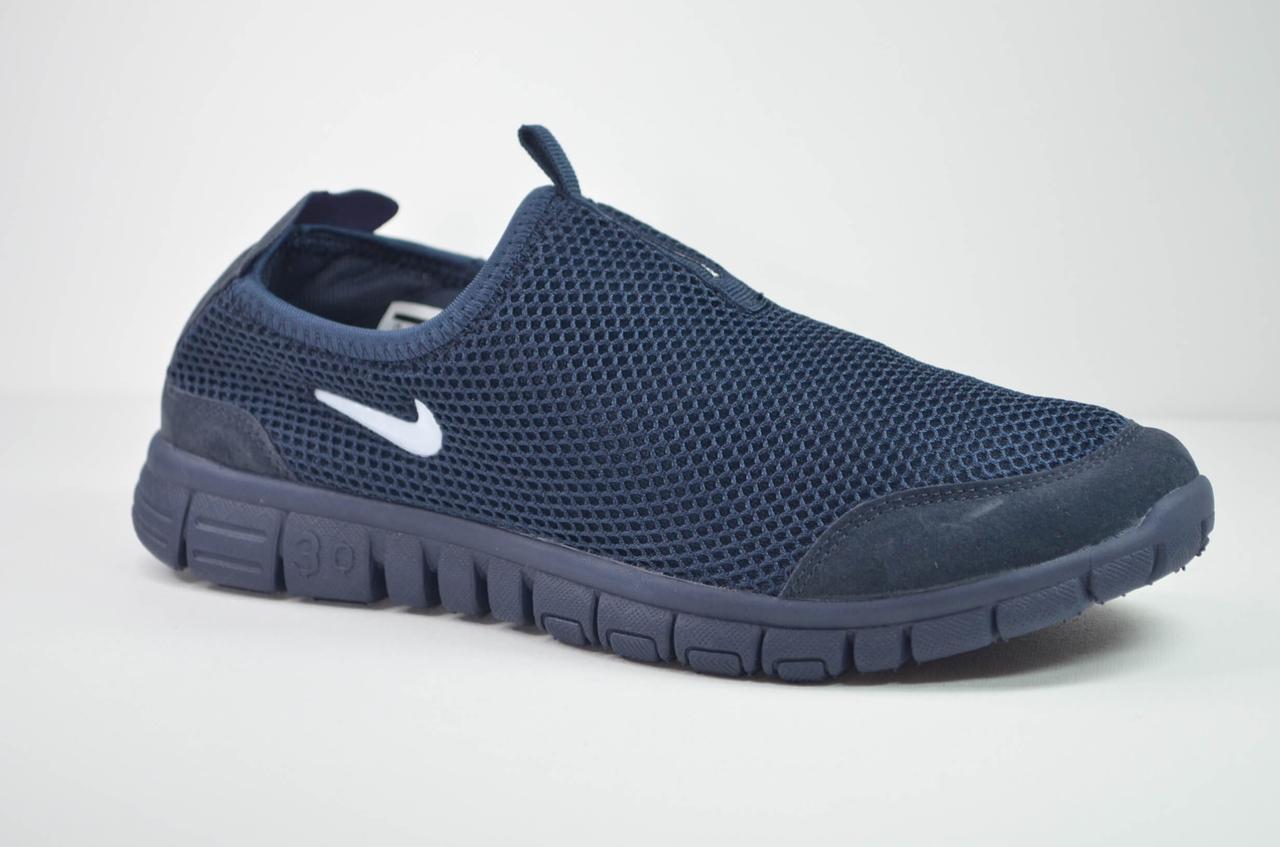 Мужские кроссовки сетка летние темно синие в стиле Free (5005 - 3)