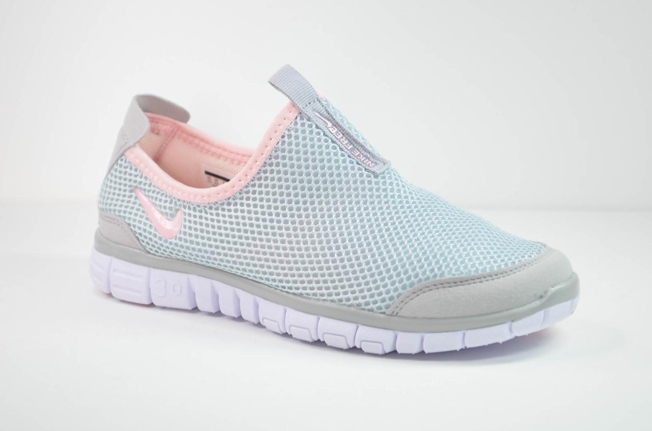 Жіночі кросівки сітка літні сірі з рожевим у стилі Free (3005 - 2)