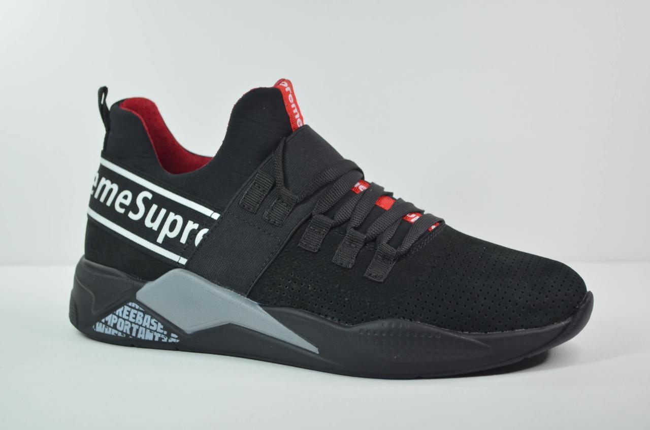 Чоловічі кросівки нубукові чорні Supreme 230