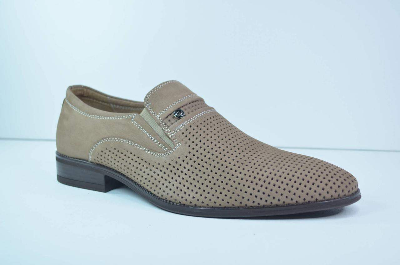Чоловічі шкіряні туфлі бежеві Cevivo 5097