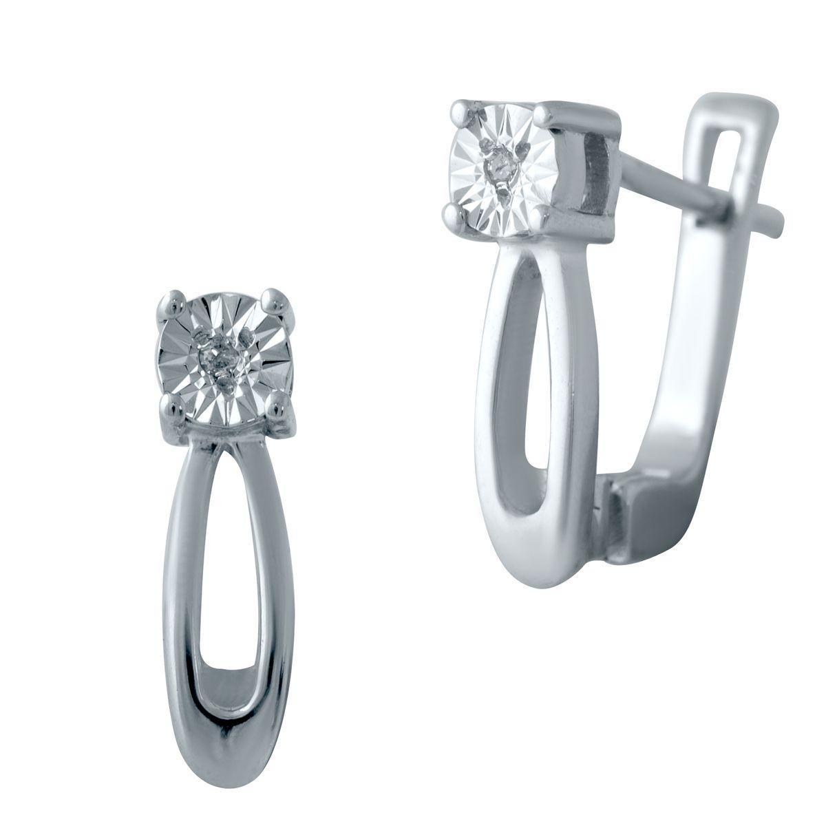 Серебряные серьги DreamJewelry с натуральными бриллиантом 0.018ct (2042273)