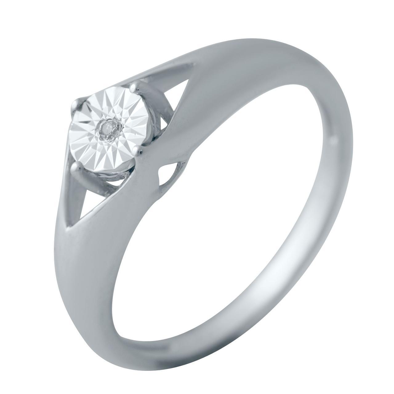 Серебряное кольцо DreamJewelry с натуральными бриллиантом 0.01ct (2043751) 18 размер