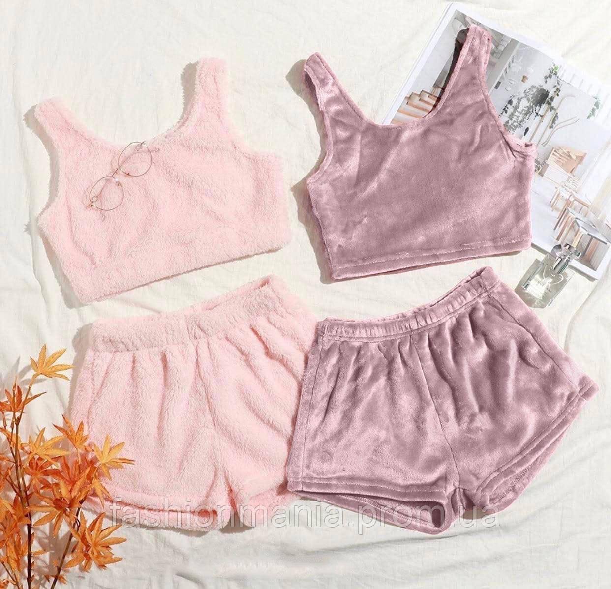 Пижама женская плюшевая мягкая розовый, лаванда 42-44,46-48