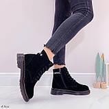 Женские ботинки ЗИМА / зимние черные натуральный замш, фото 2