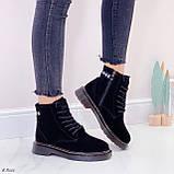 Женские ботинки ЗИМА / зимние черные натуральный замш, фото 7