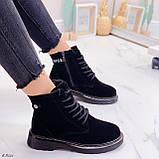 Женские ботинки ЗИМА / зимние черные натуральный замш, фото 5
