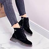 Женские ботинки ЗИМА / зимние черные натуральный замш, фото 6