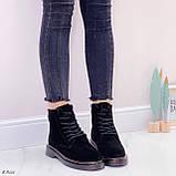 Женские ботинки ЗИМА / зимние черные натуральный замш, фото 4