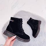 Женские ботинки ЗИМА / зимние черные натуральный замш, фото 8