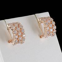 Головокружительные серьги с кристаллами Swarovski, покрытые золотом 0667, фото 1