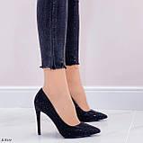 Туфли- лодочки каблук 10,5 см черные со стразами, фото 6