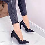Туфли- лодочки каблук 10,5 см черные со стразами, фото 7