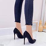 Туфли- лодочки каблук 10,5 см черные со стразами, фото 3