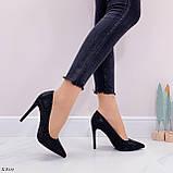 Туфли- лодочки каблук 10,5 см черные со стразами, фото 5