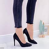 Туфли- лодочки каблук 10,5 см черные со стразами, фото 9