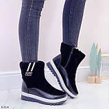 Женские зимние ботинки / дутики / дутыши черные эко кожа + велюр, фото 3