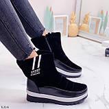 Женские зимние ботинки / дутики / дутыши черные эко кожа + велюр, фото 4