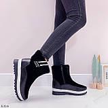 Женские зимние ботинки / дутики / дутыши черные эко кожа + велюр, фото 6