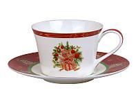 Чашка с блюдцем Новогодняя коллекция красная, фото 1
