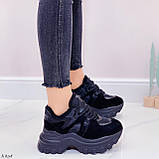 Женские кроссовки ЗИМА / зимние черные на платформе 6 см эко кожа + замша, фото 3