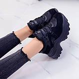 Женские кроссовки ЗИМА / зимние черные на платформе 6 см эко кожа + замша, фото 4